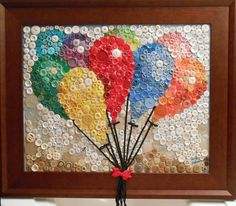 Button Mosaic...Balloon Bouquet (frame included) FOR SALE on facebook.com/sandrakbrownart