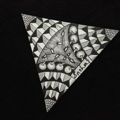 On a White Tile(Triangle) with Black Sakura Micron india mumbai Zentangle, Mumbai, Triangle, Tile, India, Cards, Black, Instagram, Design