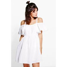 Boohoo Rosie Woven Mesh Frill Sleeve Skater Dress ($40) ❤ liked on Polyvore featuring dresses, white, white skater dress, white dress, sequin bodycon dress, cocktail party dress and white slip dress