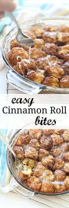 These Cinnamon Roll Bites are the easiest way to cinnamon roll flavor! Uses homemade or store bought biscuit dough, a great make ahead breakfast or dessert!