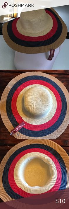 NWT Merona Sun hat Adorable floppy sun hat by MERONA. Tan with red, blue and navy. Head circumference approximately 23 1/4. Merona Accessories Hats