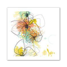 'Orange Botanica' by Jan Weiss Graphic Art Canvas
