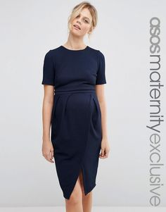 Image 1 ofASOS Maternity NURSING Textured Pencil Dress With Double Layer