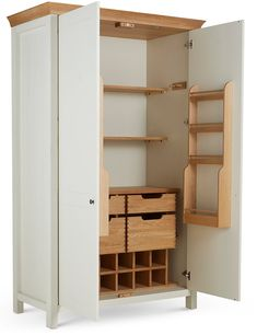 Buy the Padstow Larder Unit Cream from Marks and Spencer's range. Wine Rack Storage, Kitchen Storage, Locker Storage, Larder Unit, Small Doors, Door Shelves, Staying Organized, Traditional House, Bathroom Medicine Cabinet