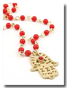 Red Miriam Hamsa Necklace - Protection & Fertility Luck