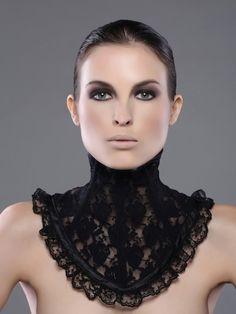 Black Lace Neck Corset by decadentdesignz on Etsy