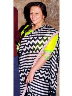 Avantika Malik: Imran Khan's wife Avantika paired her gorgeous black and white Anupamaa sari with a neon green blouse. We love the combination and can't wait to try it too.Vote: Anushka Manchanda Vs Priyanka Chopra in Neon Bodycon