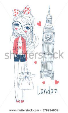 romantic girl/ illustration girl/ fashion girl/ cute girl/ happy girl/ beautiful girl/ girl in London - stock vector