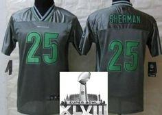 6e0e971d556 Kids Nike Seattle Seahawks 25 Richard Sherman Elite Grey Vapor 2014 Super  Bowl XLVIII NFL Jerseys