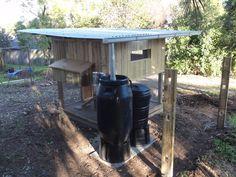 Chicken coop under construction. Note the water harvesting. #yandeloracoops