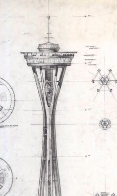 More preliminary designs of the Space Needle for the 1962 Worlds Fair - by Edward Carlson and Victor Steinbrueck