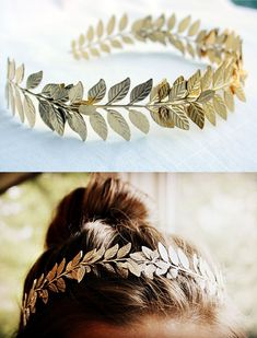 Greek bridal hairdo with golden wreath