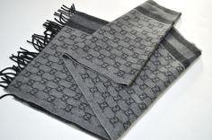 GUCCI Mens Italy GG Cashmere Wool Grey Scarf Dust Bag  #GUCCI #Scarf