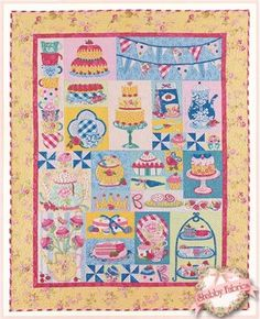"""Princess Tea Party Pattern: Celebrate a princess tea party with this colorful quilt.  The majority of this quilt is applique featuring teapots, cakes, treats, and flowers.  Pattern includes all instructions for the 54"""" x 68"""" quilt."""