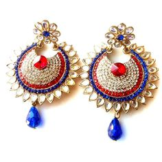 Red & Blue Kundan Earrings - Aniika The Inspired Bazaar. A combination I am looking for, to go with my Sangeet Outfit.