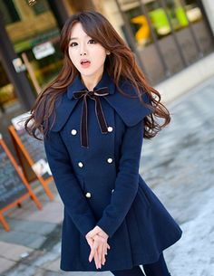 Pretty Look 2 Colors Bowknot Double-breasted Wraps Warm Coat _Long Coats_Outerwear_Wholesalekingdom.net