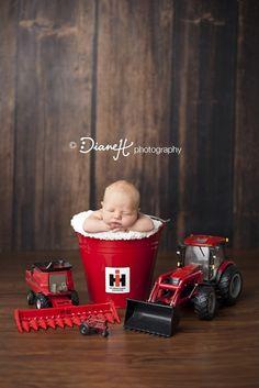 Newborn Boy Case IH Farmer with Cow Hat (Spring Valley, Mn Newborn Photographer) » DianeH Photography