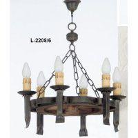 Lámpara de Techo 6 luces diámetro 58 cm L-2208/6 Madera de Joalpa