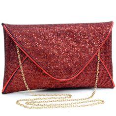 Red Metallic Sparkle Clutch