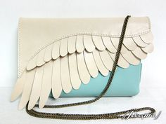 2-Tone Leather Feather Clutch Bag