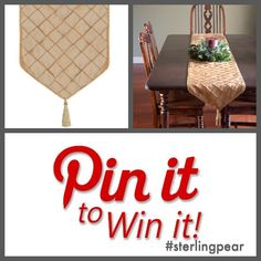 """Just in time for Thanksgiving!! 3 lucky pinners will win a Gold Taffeta Table Runner (available in 70"""" or 90"""" lengths).   Here's how: • Follow @Sterling Pear on Pinterest • Pin the image above to your favorite fall board (be sure to include #sterlingpear & #goldtablerunner in your description) • Send an email to info@sterlingpear.com mentioning this Pin-to-Win contest. Winners announced this Sunday, Nov 10th!     PS:  Sign-up for our email list at www.sterlingpear.com & get an added entry!"""