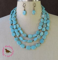 Turquoise Statement Necklace Blue by MagpieMadnessJewelry on Etsy