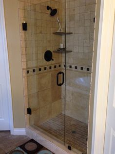 Removed Insert And Had New Shower Built Frameless Pivoting Door Opens Both Ways