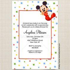 Disney Baby Mickey Bottle Baby Shower Invitations