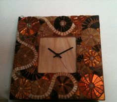 Mosaic work. Wall clock with amber and golden by LelucciolediPapi, €95.00
