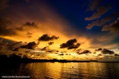 Kota Kinabalu Sunset seen near Tanjung Aru beach over the stilt village