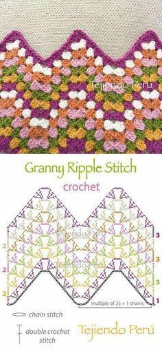 "Crochet: granny ripple stitch diagram or pattern! ""Granny ripple stitch diagram that I actually understand! Chevrons Au Crochet, Crochet Ripple, Manta Crochet, Granny Square Crochet Pattern, Crochet Diagram, Crochet Stitches Patterns, Crochet Chart, Crochet Granny, Crochet Motif"