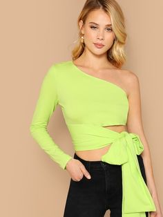 bc9598c64511 Flared Sleeve Wrap Tie Waist V-Neck Blouse. See more. SHEIN Crop One  Shoulder Self Belted Top #fashion #trends #styles #shein #