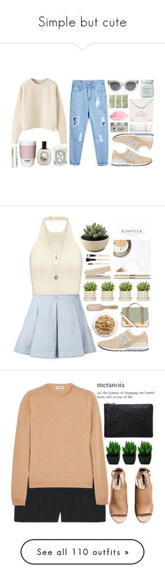 """""""Simple but cute"""" by xoxashlinaxox ❤ liked on Polyvore featuring New Balance, CÉLINE, Laura Mercier, Dogeared, Diptyque, H&M, ROOM COPENHAGEN, La Mer, Tweezerman and Phyto"""
