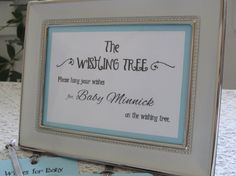 Wishing Tree Instruction Card for Baby Shower 5x7 Sign