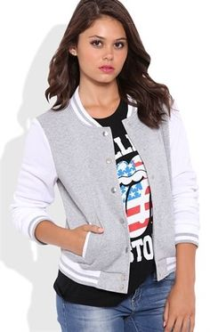 Deb Shops #Varsity Jacket with Snap Front $25.00