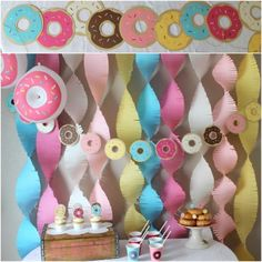 This banner includes 12 donuts in the custom color variety you choose at checkout. Each donut is 6 inches wide and is strung on 9 feet of hemp twine. Banner is constructed with heavy quality cardstock paper.  You can purchase matching party supplies and custom backdrop in other listings in my shop. 2nd Birthday Party Themes, Donut Birthday Parties, Baby Girl 1st Birthday, Donut Party, Birthday Fun, Birthday Party Decorations, Birthday Ideas, Grown Up Parties, Donuts