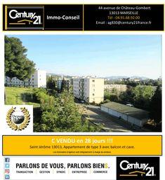 C Vendu en 28 jours !!!  Votre Agence Century21 Immo Conseil à Marseille Chateau Gombert a Vendu:  Un Appartement de type 3 avec balcon et cave. Saint Jérôme, Marseille 13013.