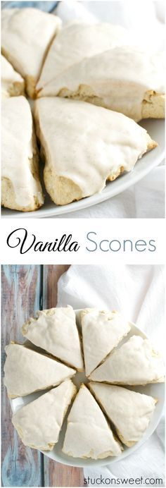 Vanilla Scones | stuckonsweet.com Scone Recipes, Tea Scones Recipe, Vanilla Scone Recipe Easy, Vanilla Bean Scones, Vanilla Tea, Vanilla Paste, Cream Scones, Bakery Recipes, Vanilla Glaze
