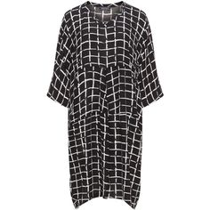Transparente Black / White Plus Size Check print crepe balloon dress ($160) ❤ liked on Polyvore featuring dresses, black, plus size, sheer dress, plus size dresses, white loose dress, white dresses and see through dress