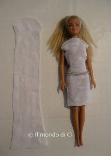 Barbie doll dresses from tights and socks. Repurpose. Doll clothes from tights and socks.