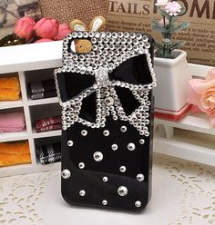 Black Bowknot Black cover bling crystal cell by SuppliesEmpire, $19.90