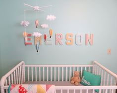 Emerson's Colorful, DIY-Crafted Nursery- isn't this the cutest nursery you ever did see??