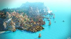 Welcome to Novigrad. The people of this small town on an island not far from Oakvale have always lived thanks to its port and shipyard. Its magnificent castle testifies to an unequaled richness in the Minecraft City, Minecraft Amazing Builds, Minecraft Medieval, Cool Minecraft, Minecraft Crafts, Medieval Castle, Minecraft Houses, Minecraft Ideas, Minecraft Anime