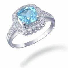 7MM Cushion Cut Natural Blue Topaz Ring In Sterling Silver 1.50 CT (Available In Sizes 5 - 9) Review