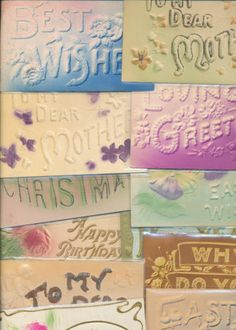 Lot of 15 Heavy Embossed Words ~Greetings Sentiments ~Antique Postcards-hhh525