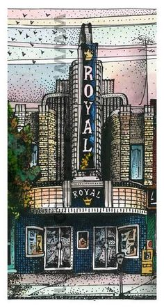 Royal Cinema recreated by art Illustrator David Crighton High Contrast Images, Little Italy, Yesterday And Today, Canadian Artists, Art Reproductions, Framed Art Prints, Amazing Art, Canvas Wall Art, Facade