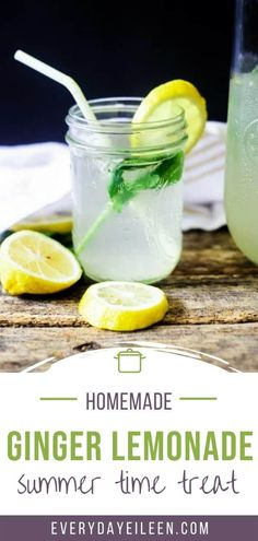 Homemade refreshing mint, ginger lemonade is a crowd-pleasing summer drink. The fresh mint and ginger syrup adds amazing flavor to the lemonade. #FarmersMarketWeek #summer #lemonade #homemadelemonade #gingerlemonade #mintlemonade #everydayeileen Citrus Recipes, Tea Recipes, Vegan Recipes Easy, Summer Recipes, Kitchen Recipes, Drink Recipes Nonalcoholic, Non Alcoholic Drinks, Cocktail Recipes, Cocktails