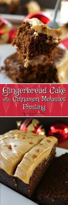 Gingerbread Cake with Cinnamon Molasses Frosting - Great Grub, Delicious Treats Holiday Baking, Christmas Desserts, Christmas Baking, Christmas Recipes, Easter Desserts, Christmas Foods, Christmas Holidays, Frosting Recipes, Cake Recipes