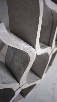 Interesting concrete partitions from hot wired foam cut molds.
