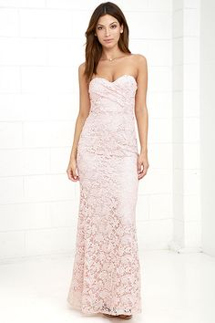 Lulus Exclusive! Elegance and grace are just a few of the words that come to mind when we think of the Inherent Beauty Blush Pink Lace Strapless Maxi Dress! A gorgeous lace overlay drapes into a strapless sweetheart neckline with lightly padded cups and no-slip strips. Fitted bodice gives way to a flaring mermaid maxi skirt. Hidden back zipper and clasp.